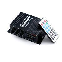 AK370 12V Mini Audio Endverstärker BT Digital Audio Receiver AMP USB Speicherkarten Slot MP3 Player FM Radio LCD Display mit Fernbedienung Dual Channel 20W + 20W Bass Höhen Lautstärkeregler für den Heimgebrauch【Schwarz】