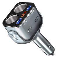 Auto Ladegerät, Zigarettenanzünder Verteiler Adapter Splitter, Schnelle KFZ Ladegerät Adapter mit LED Voltmeter Schalter Dual USB Port 90W 12V/ 24V