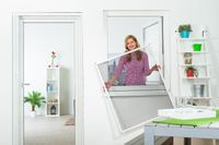 Fliegengitter Fenster 'MASTER SLIM', glänzende Optik - Alurahmen, Farbe:weiß, Groesse:130 x 150, Zuschnitt/Aufbau:Selbstbausatz