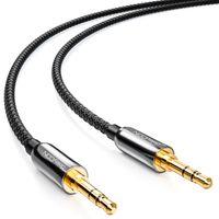 deleyCON 3m Klinken Kabel mit Nylon Mantel - Stereo Audio - AUX - 3,5mm Klinken Stecker zu 3,5mm Klinken Stecker - vergoldete Stecker - Schwarz