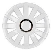 4x PREMIUM Radkappen Modell: Onyx in Weiß-Chrom Ring, Größe:14 Zoll