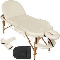 tectake Massageliege oval mit 5cm Polsterung, Rollen und Holzgestell - beige