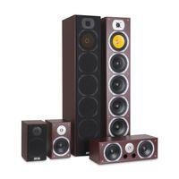 AUNA V9B - Surround Lautsprecher Boxen Set, Surround Sound-System, Heimkinosystem, Bassreflex-Chassis, 400 Watt RMS, 20 Hz - 20 kHz Frequenzgang, Mahagoni