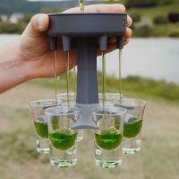 Cocktail-Shots Spender 6 Schnapsglasspender und Halter Bar-Schnapsspender Carrier Caddy Liquor Dispenser Geschenke Trinkspiele Spender zum Bef/üllen von Fl/üssigkeiten Schnapsglas und Tablett