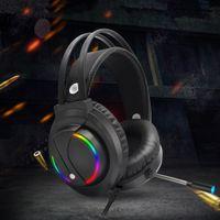 Gaming Headset mit Mikrofon-Kopfh?rer RGB-Surround Sound USB Wired Gamer-Kopfh?rer (Schwarz)