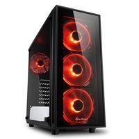 Sharkoon TG4 - Midi Tower - PC - Gehärtetes Glas - Schwarz - ATX,Micro ATX,Mini-ITX - Rot Sharkoon