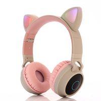 Kinder Kopfhörer, Kids Kopfhörer über Ohr, Kabelgebundene Kopfhörer 85dB Volumen begrenzt, Lebensmittelqualität Silikon, LED Taschenlampe, Kopfhörer für Kinder, Beige