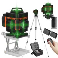 4D 16 Lines Laser Level Grünes 360º Rotary Automatische Kreuzlinienlaser (Arbeitsbereich: 25 m) mit 1,5 m 3 Höhen verstellbarem stativ IP54 Staub & Wasserschutz mit zwei Batterie