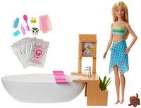 Barbie Wellnesstag Sprudelbad Spielset und Puppe, Anziehpuppe (blond), Barbie Badewanne