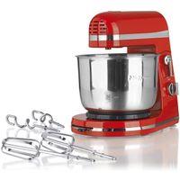 Cuisine edition Küchenmaschine 250W rot, Modern Style, 3tlg. inkl. Edelstahl Rührschüssel, Knethaken und Rührstäben