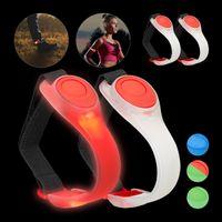 relaxdays 4 x LED Armband Leuchtarmband Laufen blinkend Jogginglicht rot Sicherheitslicht