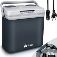 tillvex Kühlbox elektrisch 32L Grau | Mini-Kühlschrank 230 V und 12 V für KFZ Auto Camping | kühlt & wärmt | ECO-Modus