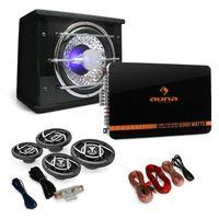 auna 4.1 Car HiFi Set - Auto-Lautsprecher-Set , Black Line 540 , 500 Watt Verstärker , Endstufe , 16 cm Auto-Boxen , 600 Watt Subwoofer , inkl. Kabelset , schwarz