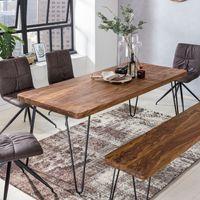 WOHNLING Esstisch BAGLI Massivholz Sheesham 160 cm Esszimmer-Tisch Holztisch Metallbeine Küchentisch Landhaus dunkel-braun