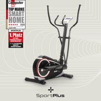 SportPlus Crosstrainer, Heimtrainer mit Wattanzeige, ca. 17kg Schwungmasse, 24 Widerstandsstufen, Handpulssensoren, Stepper
