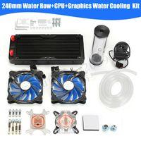 DIY PC Wasserkühlung Set CPU Block 240mm Kühlkörper Heizkörper + LED Lüfte ..