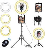 """LED Ringlicht mit Stativ Handy, 10"""" Selfie Ringleuchte mit Fernbedienung und Doppel Handyhalter mit 3 Farbe&10 Helligkeitsstufen für YouTube TikTok Fotografie Live-Streaming [Tischstativ inklusive]"""