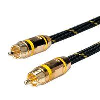 ROLINE GOLD Cinch-Verbindungskabel simplex Stecker / Stecker, gelb, 2,5 m