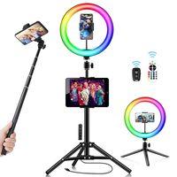 """Ranikeer 10"""" Ringlicht mit 63"""" Stativ, LED Selfie Ringleuchte mit Fernbedienung und Doppel-Handyhalter, 3 Weißlicht+15 RGB Farbwechsel+9 Flashmodus"""
