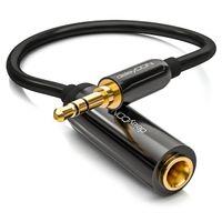 deleyCON 0,2m Stereo Audio Klinken Adapter Kabel - 3,5mm Klinken Stecker zu 6,3mm Klinken Buchse - Vergoldete Klinke Stecker und Buchse - Schwarz