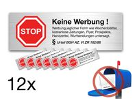 12x Aufkleber Schild Sticker keine Werbung e Zeitungen, Flyer