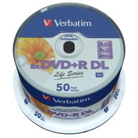 Verbatim - 50 x DVD+R DL - 8.5 GB ( 240 Min. ) 8x - bedruckbare Oberfläche - Spindel