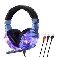 SY830MV Gaming Headset 3,5 mm Kabel über Ohr Kopfhörer Noise Cancelling E-Sport-Kopfhörer mit Mikrofon LED-Licht AUX + USB für Desktop-PC【Tarnungs-Blau】