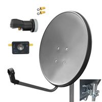 ARLI 60cm HD SAT Anlage grau + Single LNB + Satfinder + 2x F-Stecker vergoldet
