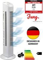 JUNG TF01 Ventilator 76cm weiss -  2020 NOTE 2,0(GUT) - BESTSELLER NR1, Leise Turm-lüfter Lautstärke max 48dbA, Turmventilator ENERGIESPAREND 0,05 kW/h,3 Stufen,75° Oszillierend Drehend [Energieklasse A+]