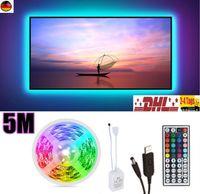 LED TV-Hintergrundbeleuchtungs-Set 5M inkl. USB Anschluss LED Strip Fernseher mit Fernbedienung 7 Farben Selbstklebend für 40-70 Zoll TV