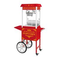 Royal Catering Popcornmaschine mit Wagen - Retro-Design - rot
