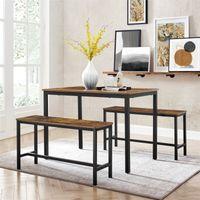 VASAGLE Esstisch mit 2 Bänken | Küchentisch-Set 110 x 70 x 75 cm je 97 x 30 x 50 cm Metallgestell vintagebraun-schwarz KDT070B01