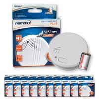 10x Nemaxx FL10 Rauchmelder - hochwertiger Rauchwarnmelder mit langlebiger 10 Jahre Lithium-Batterie - nach DIN EN 14605