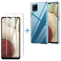 Samsung Galaxy A12 Panzerglas Schutz Folie Hart-Glas + Schutzhülle Transparent Silikon Case Full-Cover Full Screen