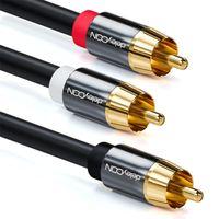 deleyCON 3m Subwoofer Kabel - Cinch RCA Y-Kabel Digitales Koaxialkabel - Vergoldete Stecker - Audio Kabel - Cinch Stecker zu 2x Cinch Stecker
