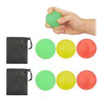 relaxdays 6 x Fingertrainer Ball, Quetschball, Handtrainer, Antistressball, Handtraining