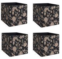 4x Dröna Ikea Fach geblümt beige/schwarz Box für Regal Kallax Aufbewahrung Kiste 33x38x33