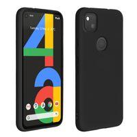 Halbsteife Silikon Handyhülle für Google Pixel 4A, Soft Touch - Schwarz