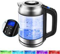 Morpilot Wasserkocher Glas Edelstahl Wasserkocher mit  60-100°C, LED Beleuchtung im Farbwechsel, 1,7 Liter Glaswasserkocher, Warmhaltefunktion, 2200W