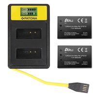 ARLI SET: 2x Akku für Canon EOS M50 EOS-M50 LP-E12 LPE12 + Smart Dual LCD USB Ladegerät