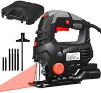 Elektronische Stichsäge, 800 W, 3100 U/min mit 6 Geschwindigkeiten, Fasenschneiden -45° bis 45°, 4-Stufe-Pendelung, mit Laser & LED, inkl. 6 Blätter, im Koffer, Werkzeugloser Sägeblattwechsel