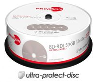 25 Primeon Rohlinge Blu-ray BD-R Dual Layer ultra protect disc 50GB 8x Spindel
