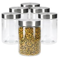 6er Set Vorratsglas Bera Edelstahldeckel silber Ø11cm 1.2L Glasdosen Dosen Aufbewahrungsbehälter