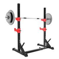 ZEHNHASE Hantelständer Hantelablage Kniebeugenständer Squat Rack bis 300 kg belastbar verstellbar Stahl für Krafttraining schwarz rot lang 22 kg