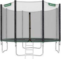 SONGMICS Trampolin Ø 305 cm, rundes Gartentrampolin mit Sicherheitsnetz, mit Leiter und gepolsterten Stangen, Sicherheitsabdeckung, sicher, schwarz, Grün STR10GN