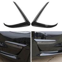 2Pcs Black Front Foglight Augenbrauen Augenlider Cover Trim Fit fuer Tesla Model 3