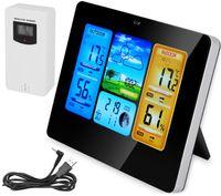 Wetterstation mit Farbdisplay Digital Thermometer Hygrometer Wettervorhersage Alarm für Innen und Außen 8119