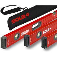 SOLA Bag-Set Alu-Wasserwaage Red 3 60cm, 80cm, Big Red 3 120cm mit Tragetasche
