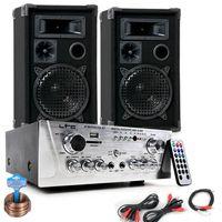 Partyanlage mit zwei Boxen und USB MP3 Verstärker DJ-694