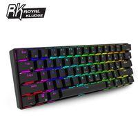Royal Kludge61 bluetooth-Kabel Dual Mode Ergonomischer RGB-Schalter mit mechanischer Hintergrundbeleuchtung für Gaming-Braun  Tastaturen